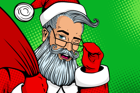 Wow pop art Santa Claus in red costume with happy face and open mouth holding glasses, winking and gifts bag. Vector illustration in retro pop art comic style. Christmas invitation. New Year poster.