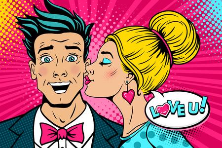Vaya pareja Feliz joven sorprendido hombre con la boca abierta y una mujer sexy en el perfil que lo besa y te encanta bocadillo. Fondo del vector en estilo cómico retro del arte pop. Cartel de fiesta de día de San Valentín.