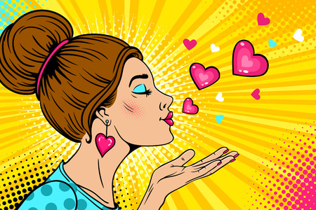 Wow love girl. Young sexy woman with closed eyes in profile sends air kiss and flying hearts. Vector colorful background in retro pop art comic style. Valentines day party invitation poster.