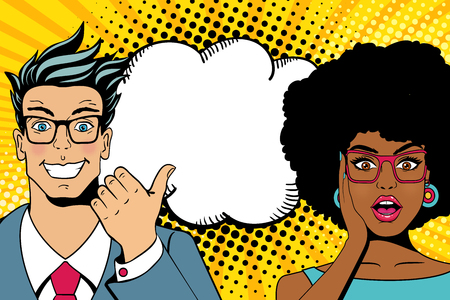 Wow couple faces. Handsome happy young surprised man and woman in glasses with open mouths and empty speech bubble. Vector colorful cartoon background in pop art comic retro style