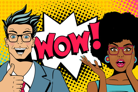 Wow couple. Handsome happy young surprised  man and sexy woman in glasses with open mouths and speech bubble with wow lettering. Vector colorful cartoon background in pop art comic retro style. Stock Illustratie