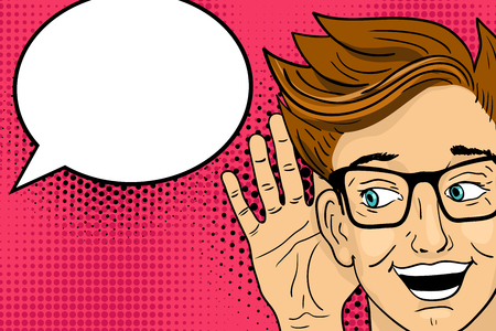 Young surprised happy man listening with open mouth. Vector illustration in retro pop art comic style.