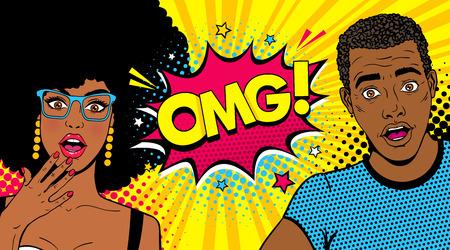 와우 afro 미국 몇입니다. 잘 생긴 젊은 놀된 남자와 OMG와 오픈 입과 연설 거품 안경에 섹시 한 여자! 본문. 팝 아트 만화 복고 스타일 벡터 화려한 만화 배경.