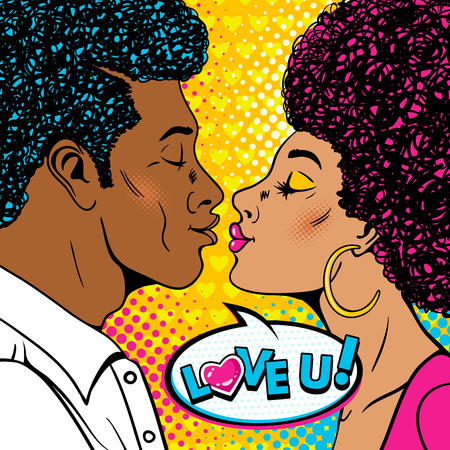 Wow couple. Happy man and sexy woman in profile with afro hairstyle stretch to each other for a kiss and Love you speech bubble. Vector background in retro pop art comic style. Valentines day poster.