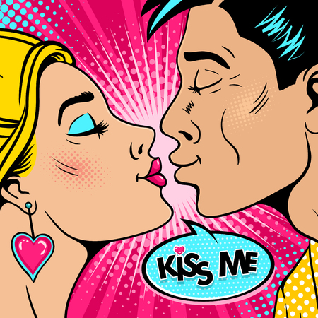Wow couple. Happy young man and sexy woman in profile stretch to each other for a kiss and Kiss me speech bubble. Vector background in retro pop art comic style. Valentines day invitation poster. Vettoriali
