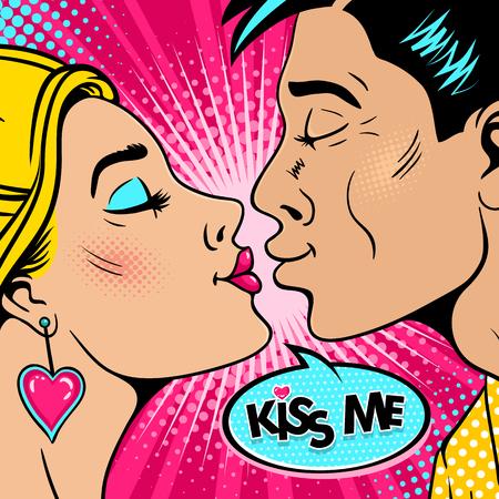 Wow Paar. Glücklicher junger Mann und sexy Frau im Profil dehnen sich miteinander für einen Kuss aus und küssen mich Spracheblase. Vektor Hintergrund im Retro-Pop-Art-Comic-Stil. Valentinstag Einladung Poster. Standard-Bild - 94519342