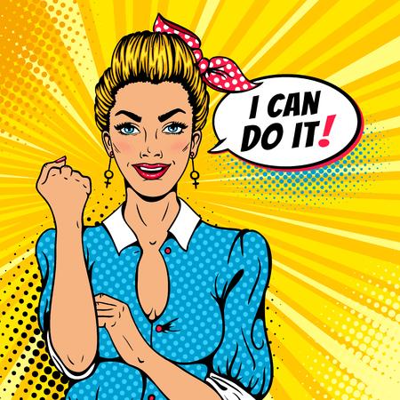 팝 아트 섹시한 강한 금발의 소녀. 여성 권력, 여성의 권리, 항의, 페미니즘에 대한 미국의 상징.