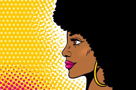 Pop art female face Illustration