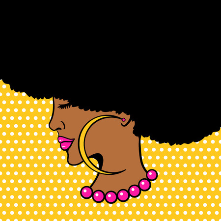 Young woman with Afro hairstyle and big earrings Çizim