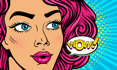 Wow female face. Closeup of sexy surprised young woman with open mouth and pink curly hair and Wow! speech bubble. Vector colorful background in pop art retro comic style party invitation poster.