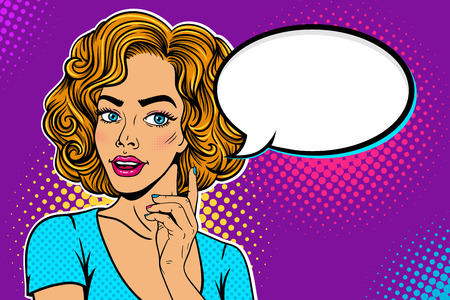 Wow female face. Young surprised blonde woman with open mouth looking at empty speech bubble and holding hand with the index finger raised. Vector colorful background in pop art retro comic style.