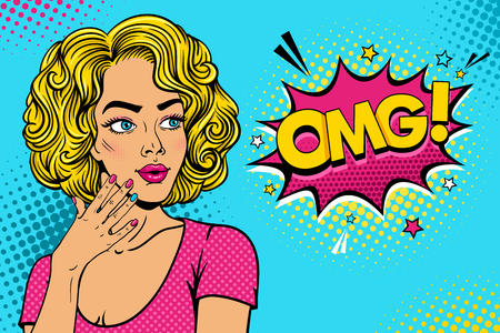 Wow female face. Sexy surprised young woman with open mouth and pink curly hair rising her hand and OMG speech bubble. Vector colorful background in pop art retro comic style party invitation poster.