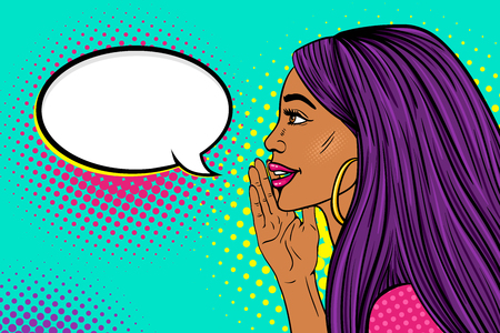 Wow female face profile of sexy surprised young woman with long purple hair and dark skin with a smile telling a secret and empty speech bubble vector background in pop art retro comic style.