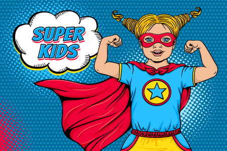 Wow face. Cute surprised blonde little girl dressed like superhero with open mouth shows her power and Super Kids speech bubble. Vector illustration in retro pop art comic style. Invitation poster.