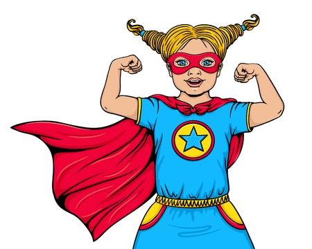 Linda niña feliz vestida con traje de superhéroe con la boca abierta muestra su poder y fuerza. Vector de dibujos animados dibujados a mano ilustración en estilo cómic pop art aislado sobre fondo blanco. Super niño