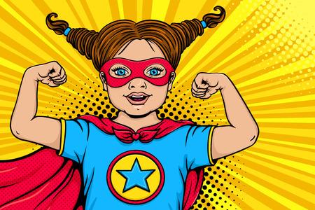 Wauw kind gezicht. Schattig verrast blond meisje gekleed als superheld met open mond toont haar kracht en kracht. Vector illustratie in retro pop-art komische stijl. Kinderfeest nvitation poster.