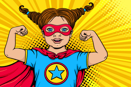 Wow child face. Cute surprised blonde little girl dressed like superhero with open mouth shows her power and strength. Vector illustration in retro pop art comic style. Kids party nvitation poster.