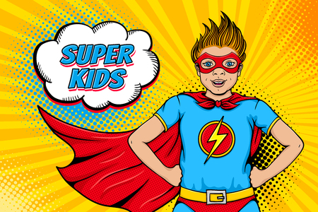 Wow face. Cute surprised little boy dressed like superhero with open mouth shows his power and Super Kids speech bubble. Vector illustration in retro pop art comic style. Party invitation poster.