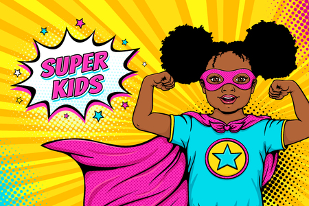 Wow face. Cute surprised afro american black little girl dressed like superhero shows her power and Super Kids speech bubble. Vector illustration in retro pop art comic style. Party invitation poster. Vettoriali