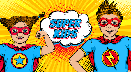 Wow couple. Surprised little girl and happy boy dressed like superheroes with open mouths show power and Super Kids speech bubble. Vector illustration in retro pop art comic style. Invitation poster. Banco de Imagens - 95195507