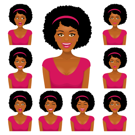 Sexy african woman with nine variors facial expressions set. Vector cartoon avatar on white background.