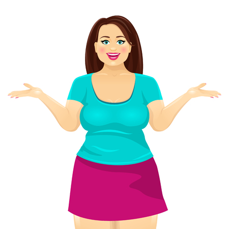 Attractive plump brunette woman smiles with open mouth and spreads her hands. Vector cartoon character on white background.