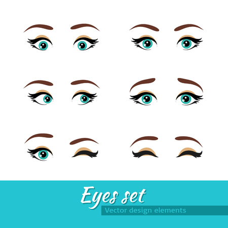 Woman blue eyes set. Different expressions. Vector design elements isolated on white background.