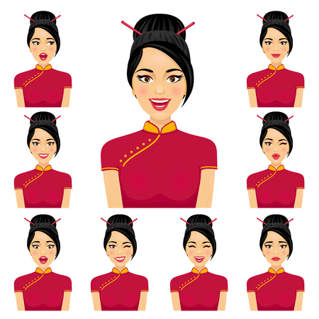 Attractive asian woman with nine variors facial expressions. Vector cartoon avatar icon set on white background.