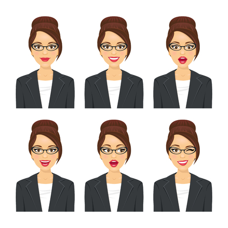 Business woman face. Various expressions set. Vector cartoon character on white background.