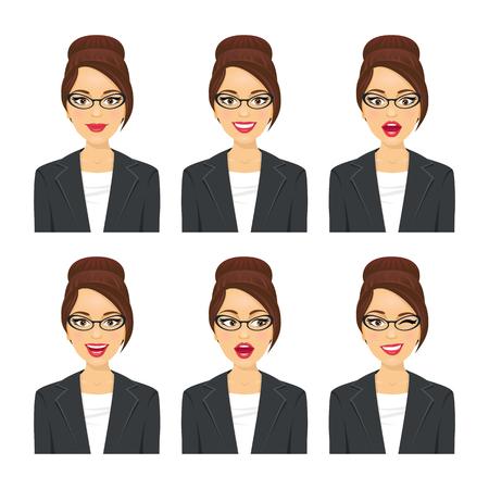 Geschäftsfrau Gesicht. Verschiedene Ausdrücke eingestellt. Vektorzeichentrickfilm-figur auf weißem Hintergrund. Vektorgrafik