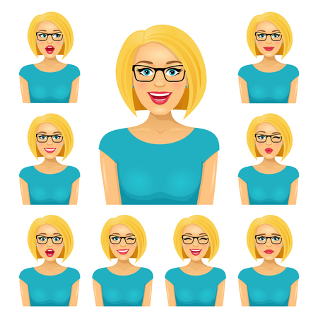 Attractive blond woman in glasses with nine different facial expressions. Vector cartoon avatar icon set on white background. Иллюстрация