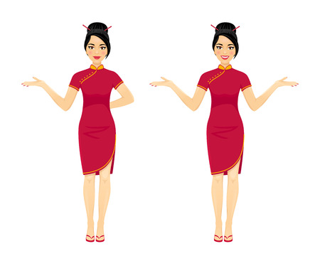 Attractive asian brunette woman in two poses: pointing and spreading her hands. Vector cartoon character on white background. Illustration