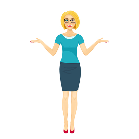 Attractive blond woman in glasses smiles with open mouth and spreads her hands. Vector cartoon character on white background. Vettoriali