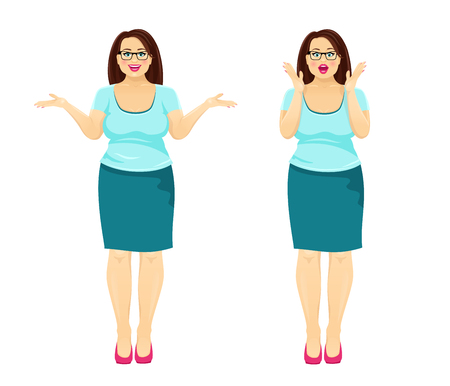 Attractive plump brunette woman with glasses and open mouth in two emotions: surprise and happy smile. Vector cartoon character isolated on white background. Иллюстрация