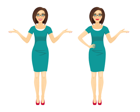 Attractive brunette business woman in two poses: pointing and spreading her hands. Vector cartoon character on white background.