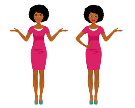 Sexy afro american business woman in two poses: pointing and spreading her hands with smile. Vector cartoon character on white background.