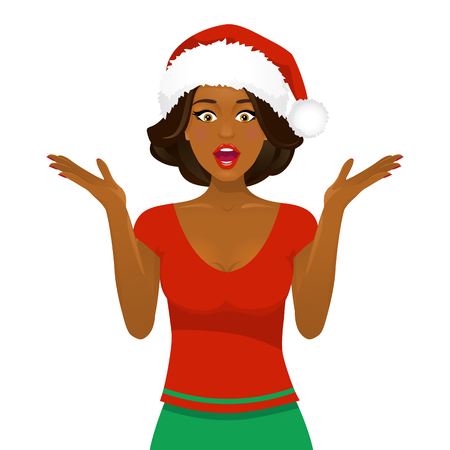 Sexy surprised afro american woman in Santa Claus hat with open mouth and rising hands. Vector Christmas cartoon character isolated on white background.