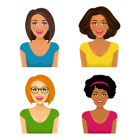 Group of four attractive smiling women faces with different ethnic affiliation and hair style. Vector cartoon illustration on white background.