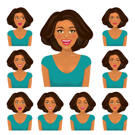 Attractive brunette woman with dark skin and nine variors facial expressions set. Vector cartoon character on white background.