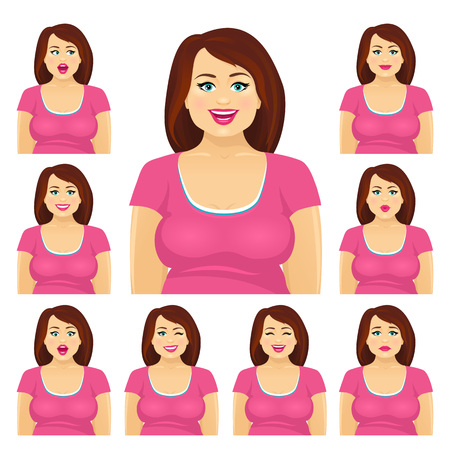 Attractive plump brunette woman with different facial expressions set. Vector cartoon character on white background. Vettoriali