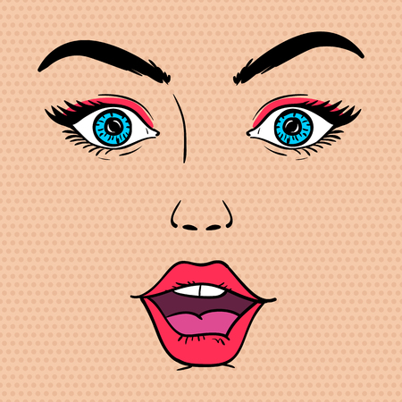 Surprised woman face with open mouth. Vector illustration in pop art style. Vettoriali