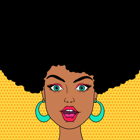 Young sexy surprised afro american woman face with open mouth. Vector background in pop art style.