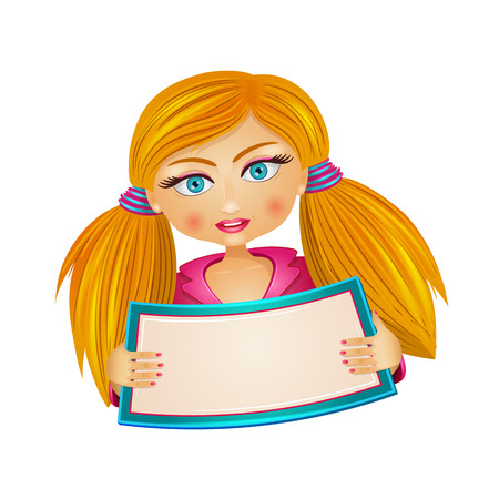 Young attractive cute blond girl with open mouth holding blank board in her hands for your text. Vector illustration.