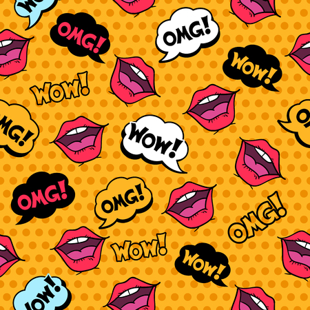 Wow! Seamless pattern in pop art comic style with speech bubbles and girl lips on yellow halftone background.