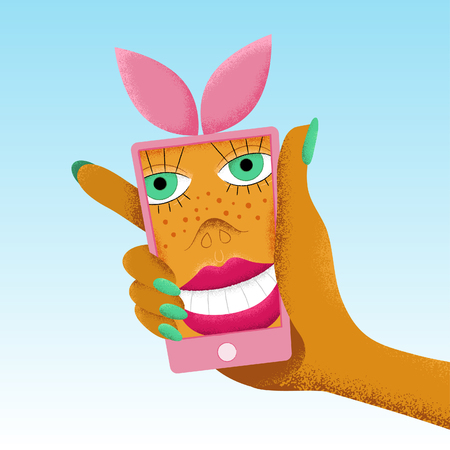 Pink smartphone with bunny ears holding in woman hand. Cartoon smiling woman selfie. Vector illustration.