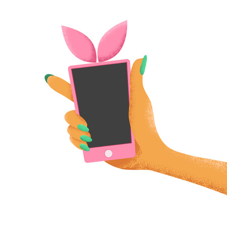Woman hand holds pink smartphone with bunny ears. Cartoon vector illustration isolated on while background.