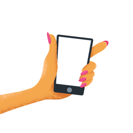 Woman hand holds a phone with with empty screen. Cartoon vector illustration isolated on while background. Vectores