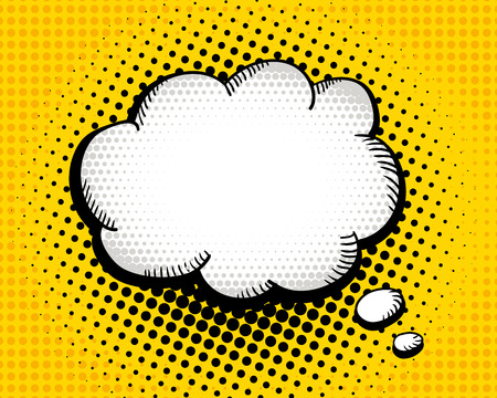 Empty speech bubble on dots background. Vector hand-drawn colorful background in pop art retro comic style. Illustration