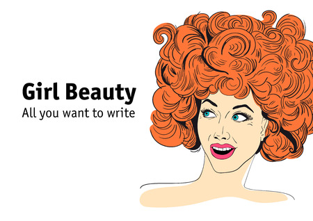 Portrait of sexy hand drown ginger woman with open mouth in retro pop art style. Vector illustration on white background. Иллюстрация