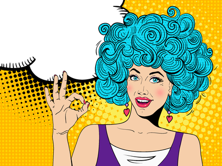 Young sexy happy surprised woman with open mouth shows OK sign and  speech bubble. Vector colorful background in pop art retro comic style.